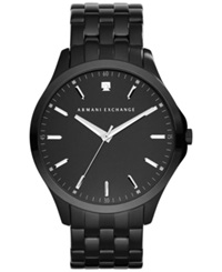 Ax Armani Exchange Men's Diamond Accent Black Ion Plated Stainless Steel Bracelet Watch 46Mm Ax2159