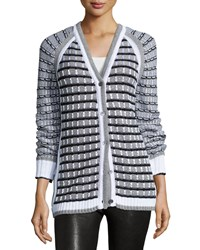 Prabal Gurung Grid Stitch Long Sleeve Cardigan Black White