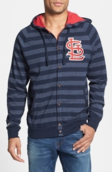 Mitchell And Ness 'Cardinals' Stripe Button Front Jersey Hoodie Navy