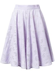 Mikio Sakabe Floral Embroidered Pleated Skirt Pink And Purple
