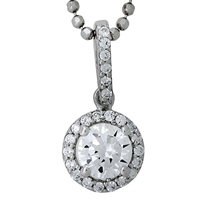 Jools By Jenny Brown Sterling Silver Cubic Zirconia Round Pendant Rhodium