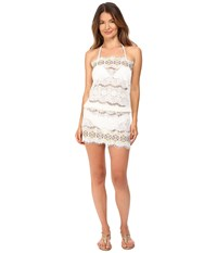 Queen And Pawn Kea Lace Embroidered Strapless Beach Dress White Yellow