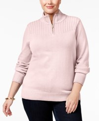 Karen Scott Plus Size Ribbed Mock Neck Sweater Only At Macy's Tea Rose