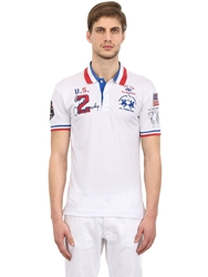 La Martina Stretch Cotton Pique Palm Beach Polo White
