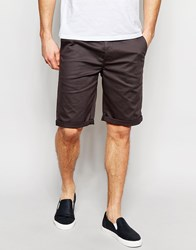 Asos Slim Chino Shorts In Long Length Washed Black Black