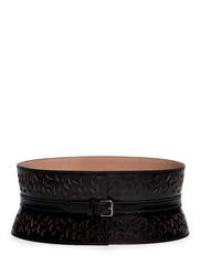 Azzedine Alaia Oval Perforated Leather Belt Black
