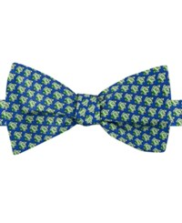 Tommy Hilfiger Men's Fish Print To Tie Bow Tie Green