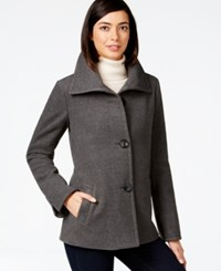 Jm Collection Petite Plush Wing Collar Coat Only At Macy's Charcoal Heather