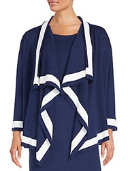 St. John Draped Open Front Cardigan Blue