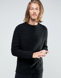 Religion Jumper With Ribbed Arm Detail Black