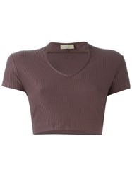 Romeo Gigli Vintage Ribbed Crop Top Pink And Purple