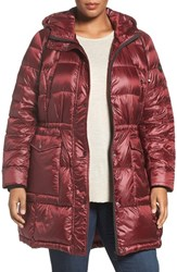 Bernardo Plus Size Women's Packable Down Primaloft Parka Port Wine