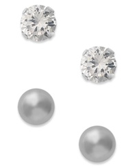 Macy's 10K White Gold Earrings Cubic Zirconia 7 8 Ct. T.W. And Ball Stud Earrings