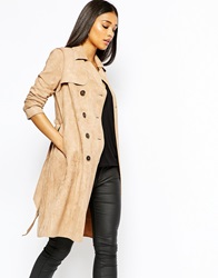 Lipsy Suedette Mac Coat With Belt Stone