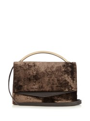 Eddie Borgo Boyd Vanity Velvet Cross Body Bag Dark Grey