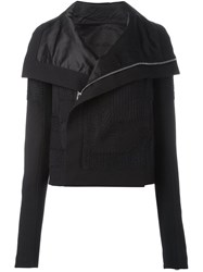 Rick Owens Embroidered Panel Biker Jacket Black