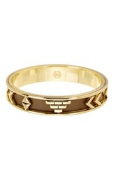 House Of Harlow Carved Genuine Leather Bangle Bracelet Metallic