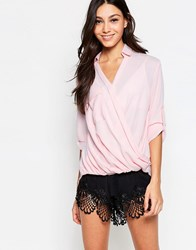 Madam Rage Blouse With Wrap Front Blush Pink