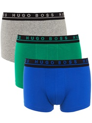 Boss Logo Boss Solid Cotton Trunks Pack Of 3 Blue Green Grey