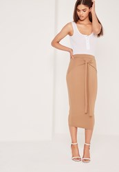 Missguided Tie Front Midi Skirt Tan Beige