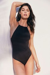 Out From Under High Neck Solid One Piece Swimsuit Washed Black