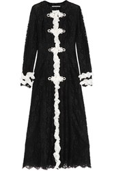Alessandra Rich Madame Ruffled Chantilly Lace Gown Black