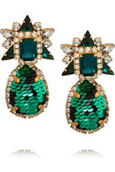 Shourouk Galaxy Gold Tone Sequin And Crystal Earrings Green