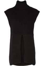 Line Alexander Waffle Knit Cotton Blend Turtleneck Vest Black