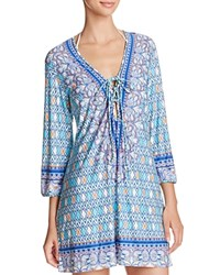 Profile Blush By Gottex India Tunic Swim Cover Up Blue