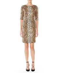 Carolina Herrera Cheetah Print Half Sleeve Sheath Dress Black Camel
