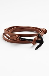 Men's Miansai Enamel Anchor Leather Bracelet Brown