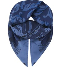Aspinal Of London Signature Crest Silk Scarf Navy