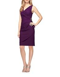 Alex Evenings Petite Ruffle Sheath Dress Summer Plum