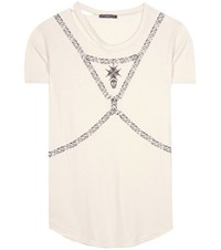 Alexander Mcqueen Printed Cotton T Shirt White