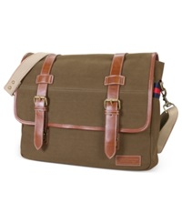 Tommy Hilfiger East West Flapover Messenger Bag Khaki