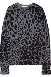 Equipment Sloane Leopard Print Cashmere Sweater Dark Gray