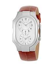 Philip Stein Teslar Large Signature Rectangle Strap Watch Brown
