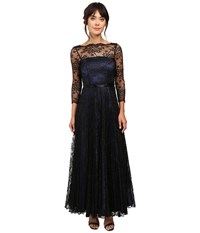 Tahari By Arthur S. Levine Black Lace Over Navy Lining Long Sleeve Dress Navy Black Women's Dress Blue
