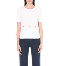 See By Chloe Cutout Detail Cotton Jersey T Shirt White