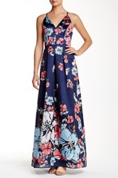 Phoebe Couture V Neck Crisscross Pleated Gown Multi