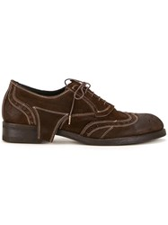 Maison Mihara Yasuhiro Contrast Stitching Lace Up Shoes Brown