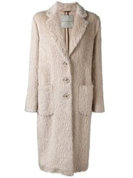 Ermanno Scervino Single Breasted Coat Nude And Neutrals