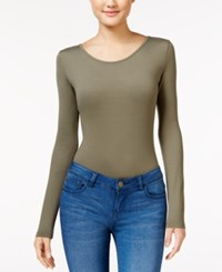 Say What Juniors' Scoop Neck Bodysuit Dusty Olive