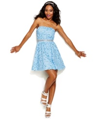 As U Wish Juniors' Strapless Rosette Beaded A Line Dress Ice Blue