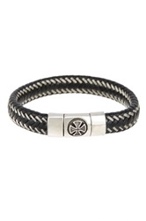 Jean Claude Stainless Steel Cross Detailed Clasp Woven Genuine Leather Bracelet Black
