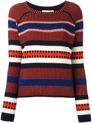 Tory Burch Striped Contrast Knit Sweater Blue