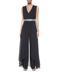 Haute Hippie Embellished Silk Jumpsuit With Cape Size 6 Black