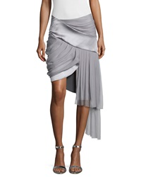 Prabal Gurung Draped Mini Skirt W Asymmetric Hem Platinum