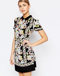 Oasis Floral Placement Border Shift Dress Multi
