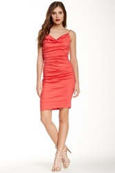 Nicole Miller Carly Ruched Spaghetti Strap Dress Pink